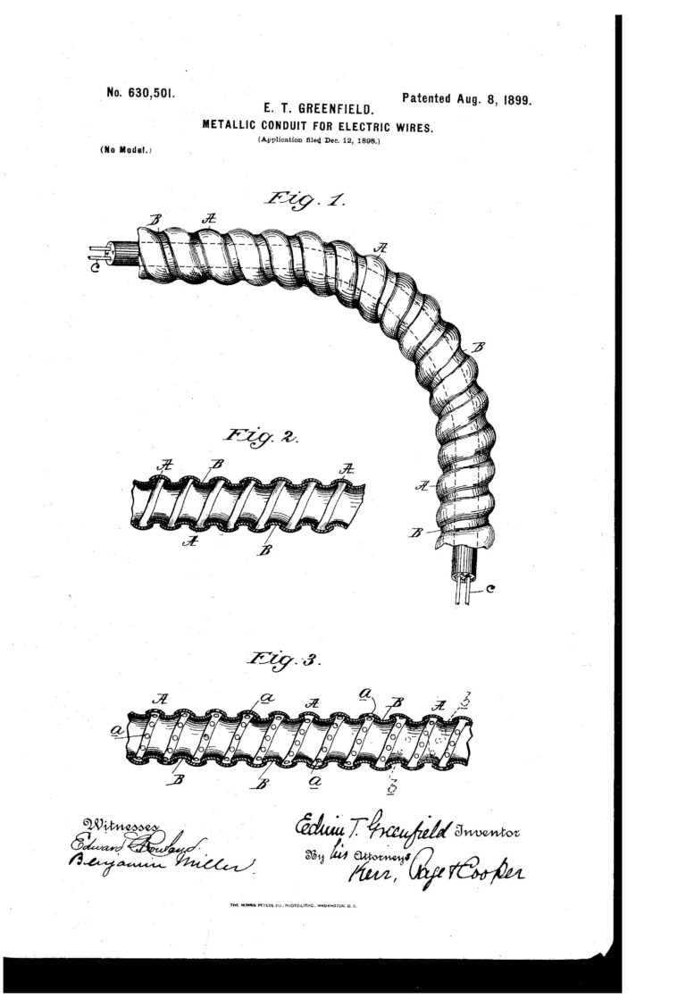 patent of the day  metallic conduit for electric wires