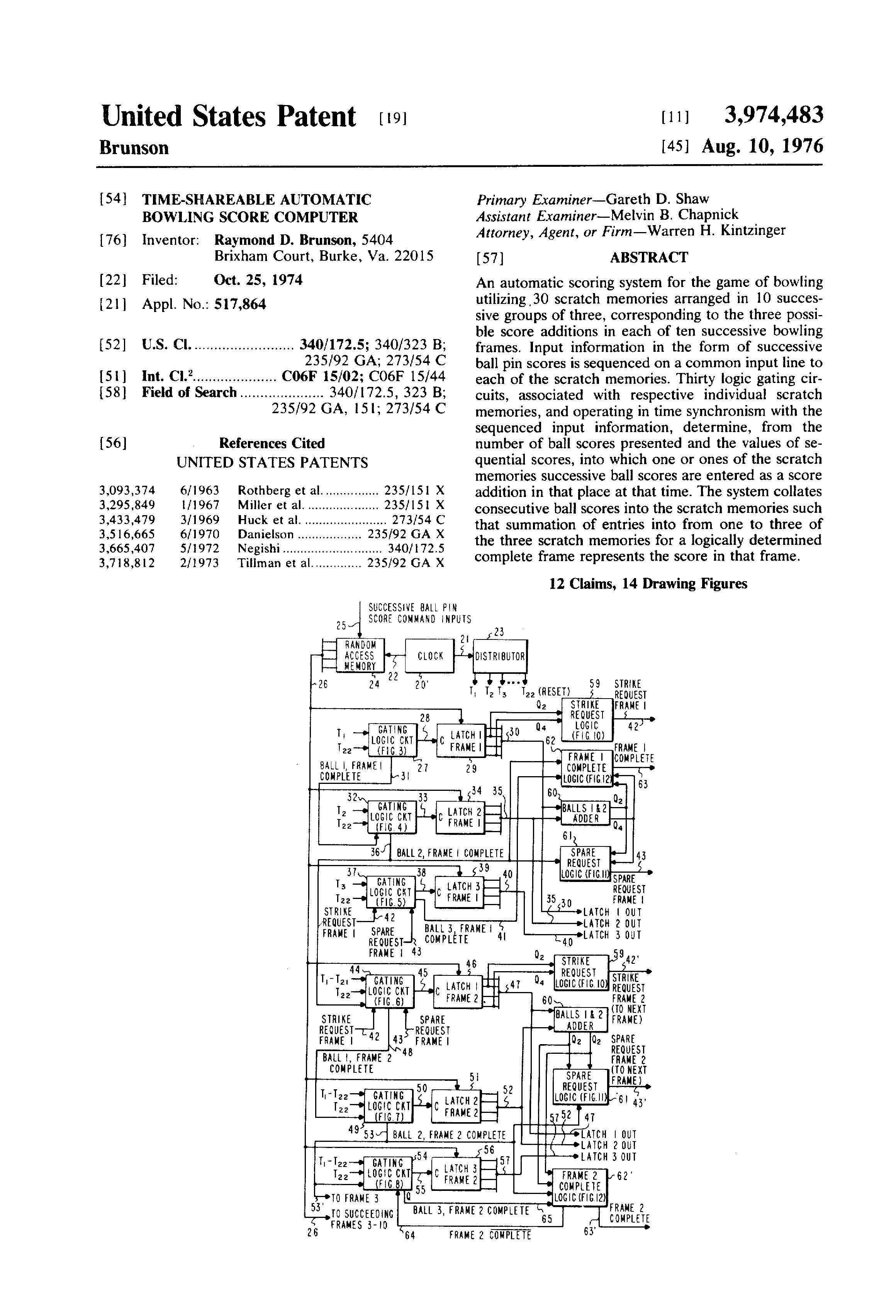 Patent of the Day: Time-Shareable Automatic Bowling Score Computer ...