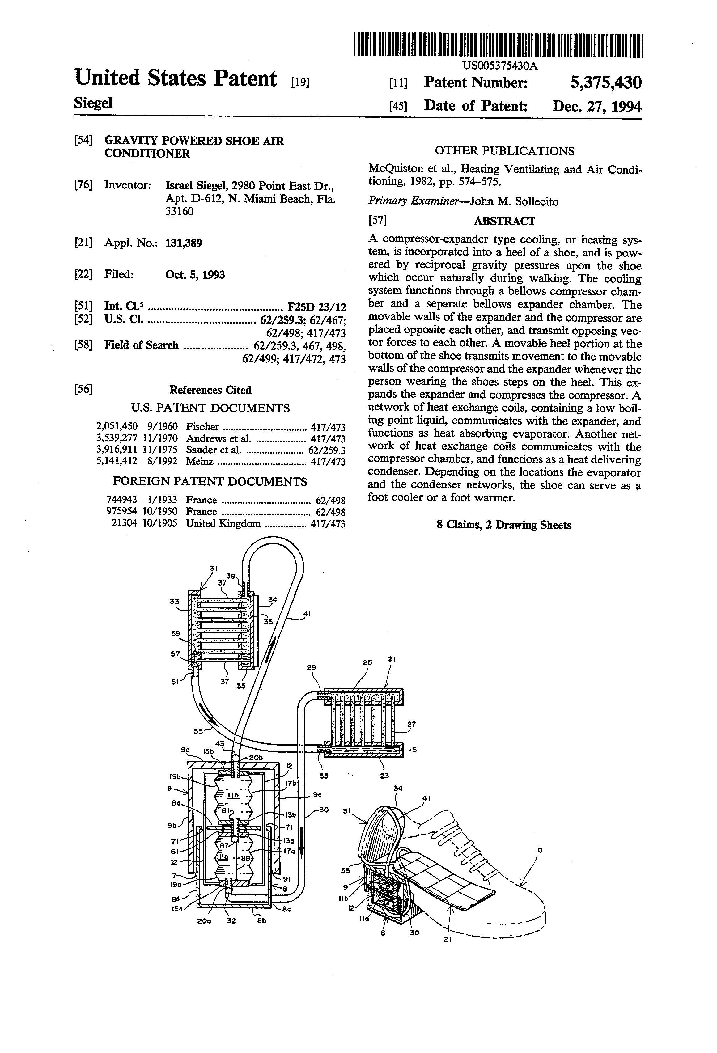 Patent of the Day  Gravity Powered Shoe Air Conditioner  2d6d85a160b7