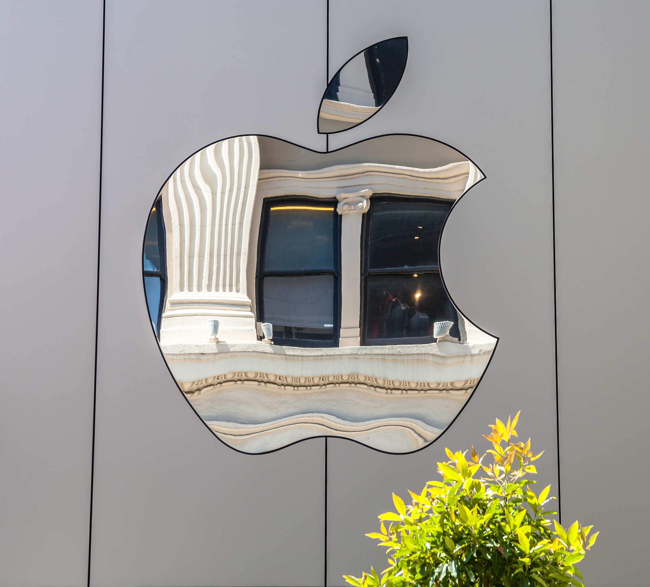 Apple logo with grey background and mirror