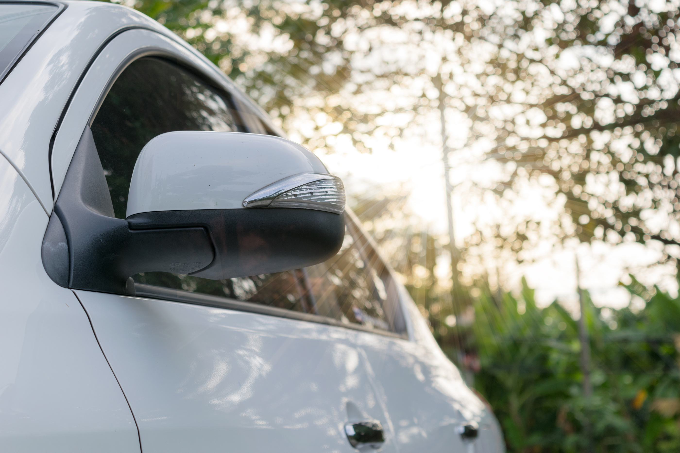 White Car Mirror