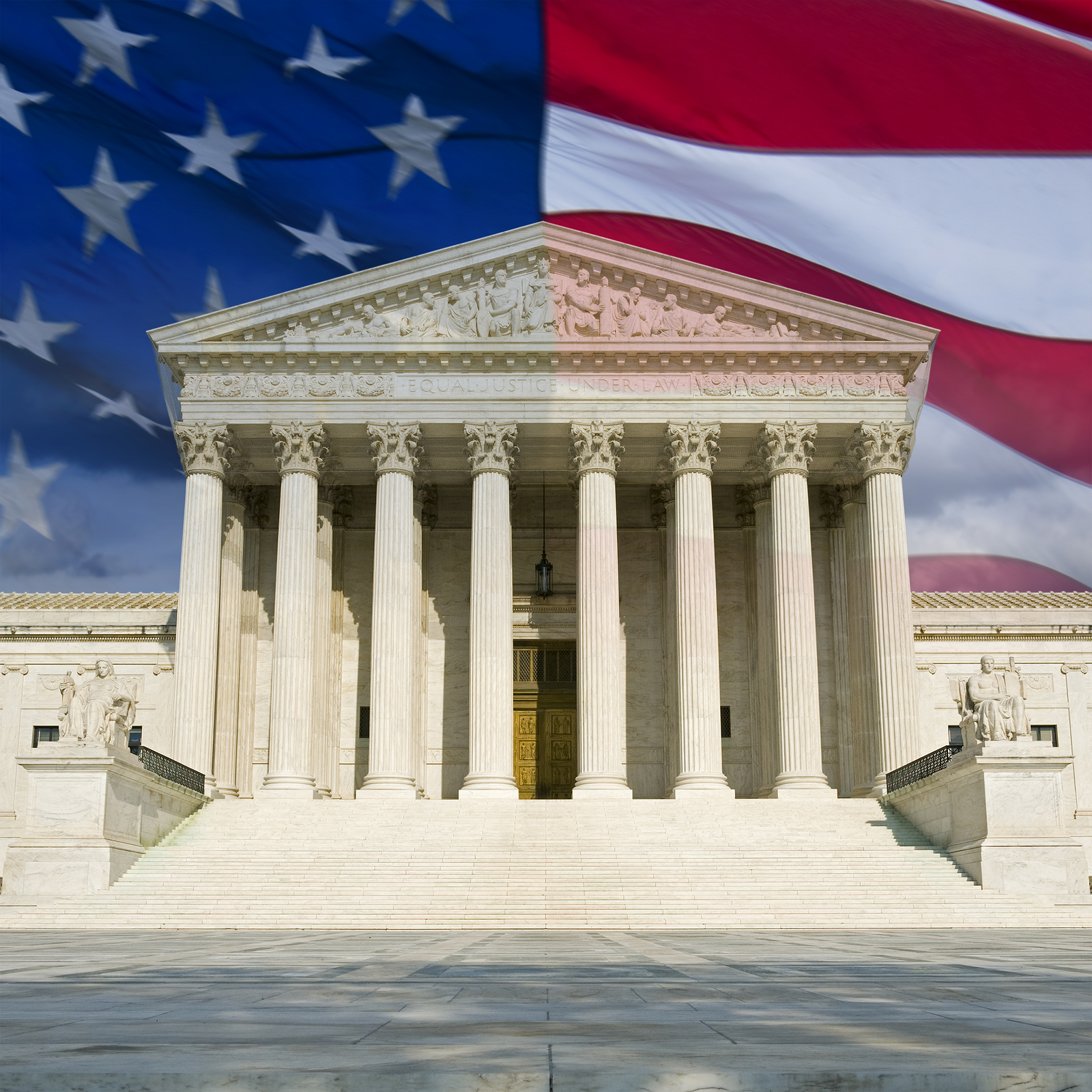 United States Supreme Court Building with American Flag