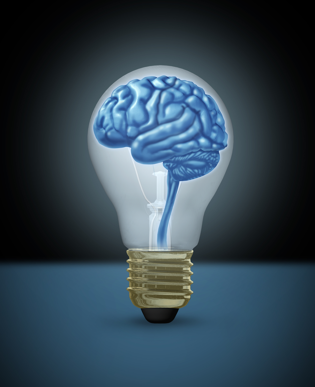 Light Bulb With A Brain Inside Of It
