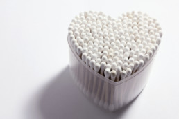 Cotton Swabs in the shape of a heart