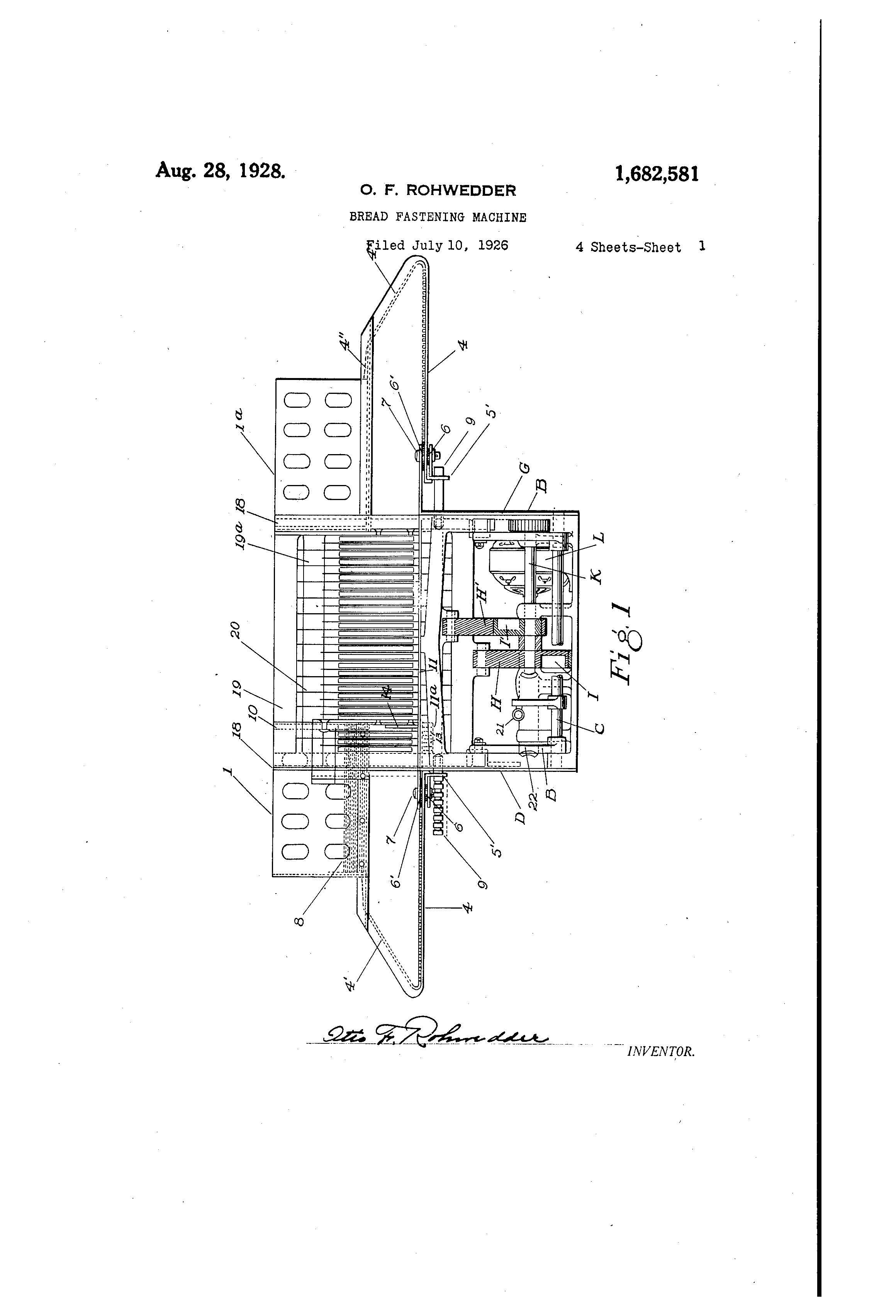 patent history  bread fastening machine