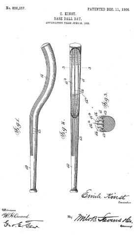 College World Series - Base-ball Bat - U.S. Patent No. 838,257