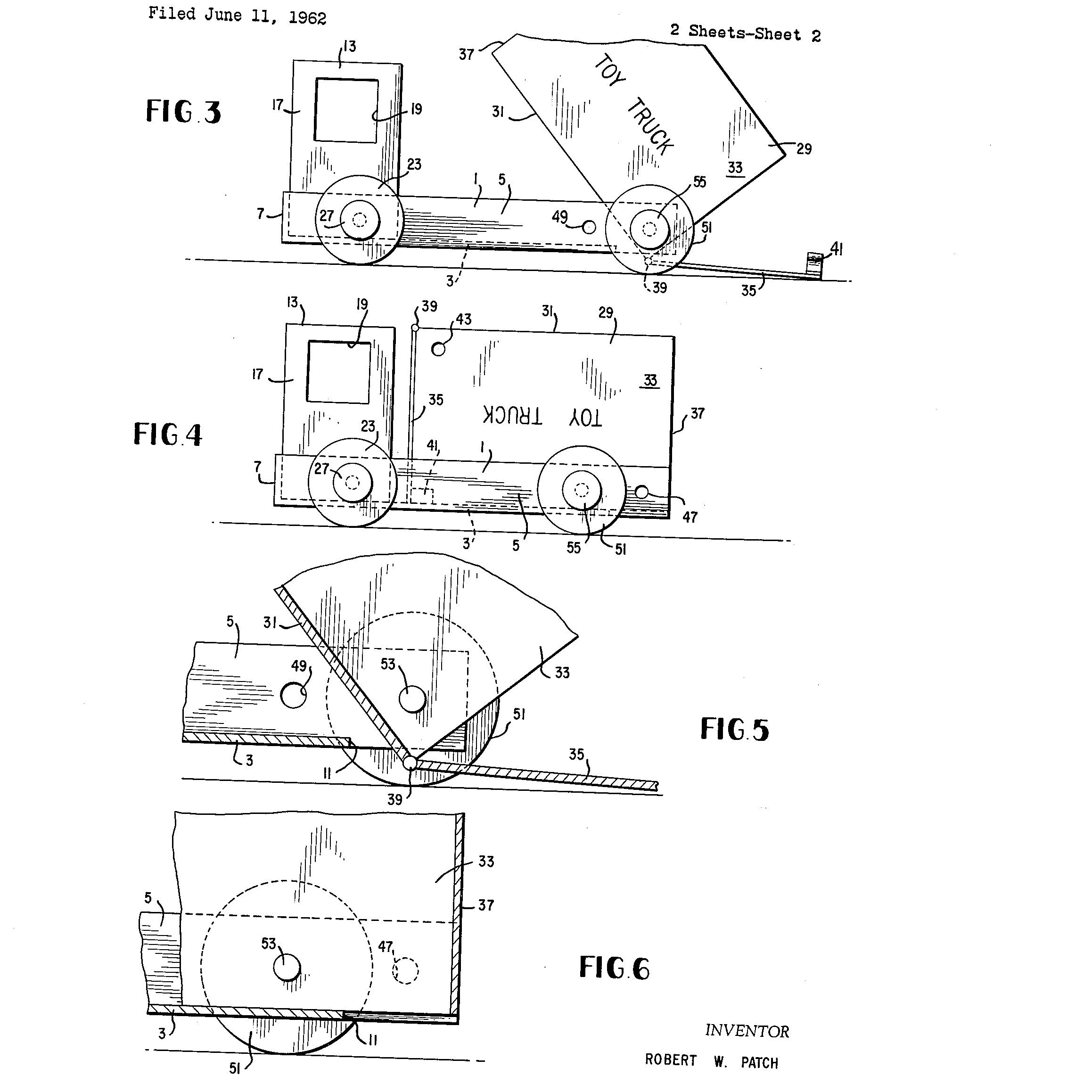 "Robert Patch, youngest person to receive a United States patent. ""Toy Truck"" (U.S. Patent No. 3,091,888)"